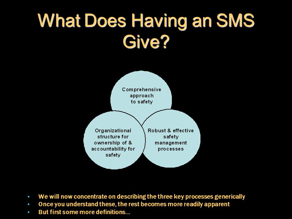 What Does Having an SMS Give?  We will now concentrate on describing the three key processes generically  Once you understand these, the rest become