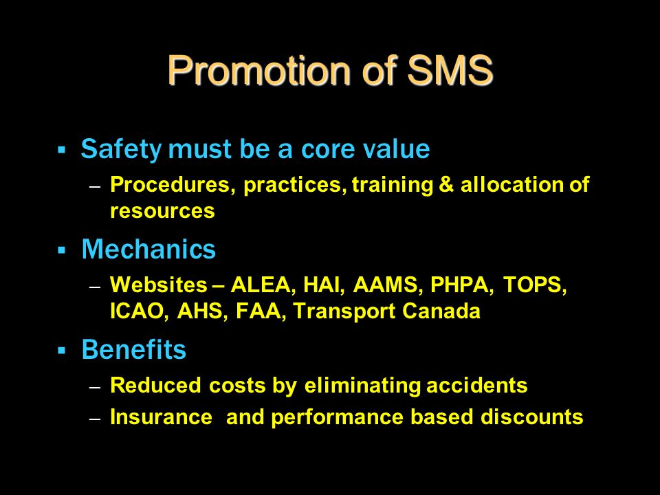 Promotion of SMS  Safety must be a core value – Procedures, practices, training & allocation of resources  Mechanics – Websites – ALEA, HAI, AAMS, P