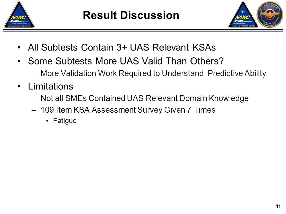 Result Discussion All Subtests Contain 3+ UAS Relevant KSAs Some Subtests More UAS Valid Than Others? –More Validation Work Required to Understand Pre