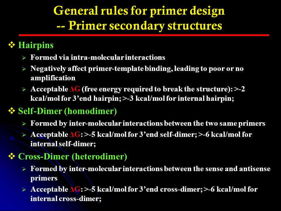 General rules for primer design -- Primer secondary structures  Hairpins  Formed via intra-molecular interactions  Negatively affect primer-templat