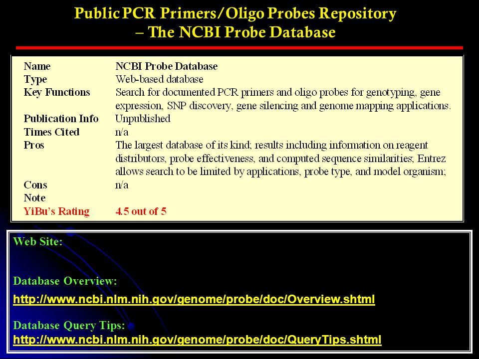 Public PCR Primers/Oligo Probes Repository – The NCBI Probe Database Web Site: Database Overview: http://www.ncbi.nlm.nih.gov/genome/probe/doc/Overvie