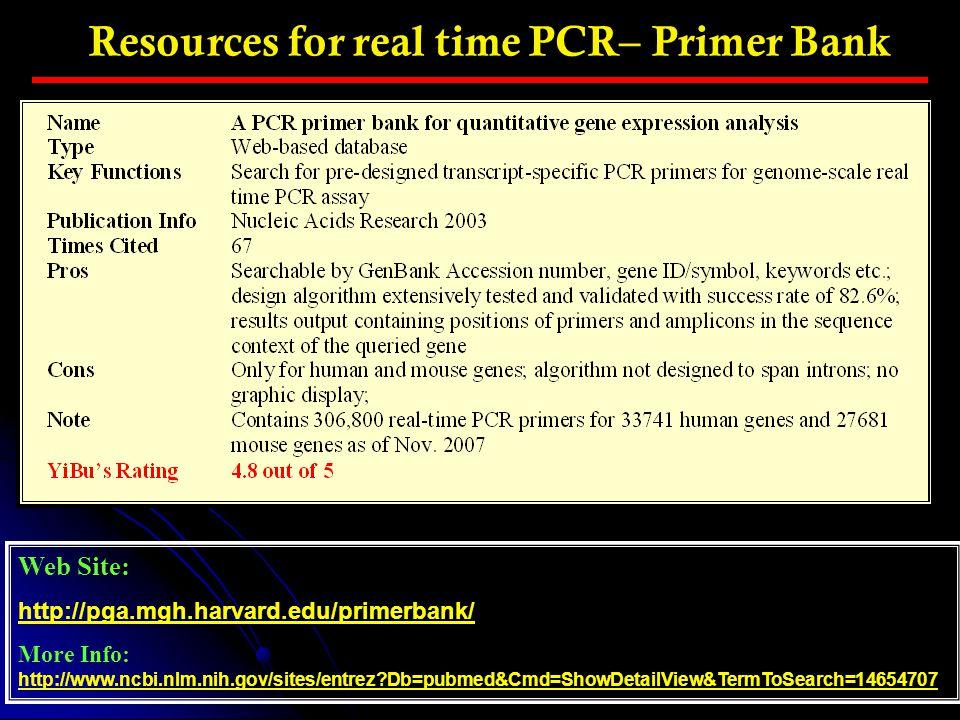 Resources for real time PCR– Primer Bank Web Site: http://pga.mgh.harvard.edu/primerbank/ More Info: http://www.ncbi.nlm.nih.gov/sites/entrez?Db=pubme