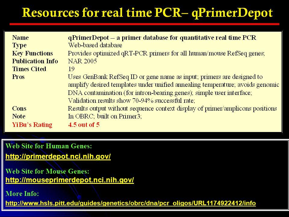 Resources for real time PCR– qPrimerDepot Web Site for Human Genes: http://primerdepot.nci.nih.gov/ Web Site for Mouse Genes: http://mouseprimerdepot.