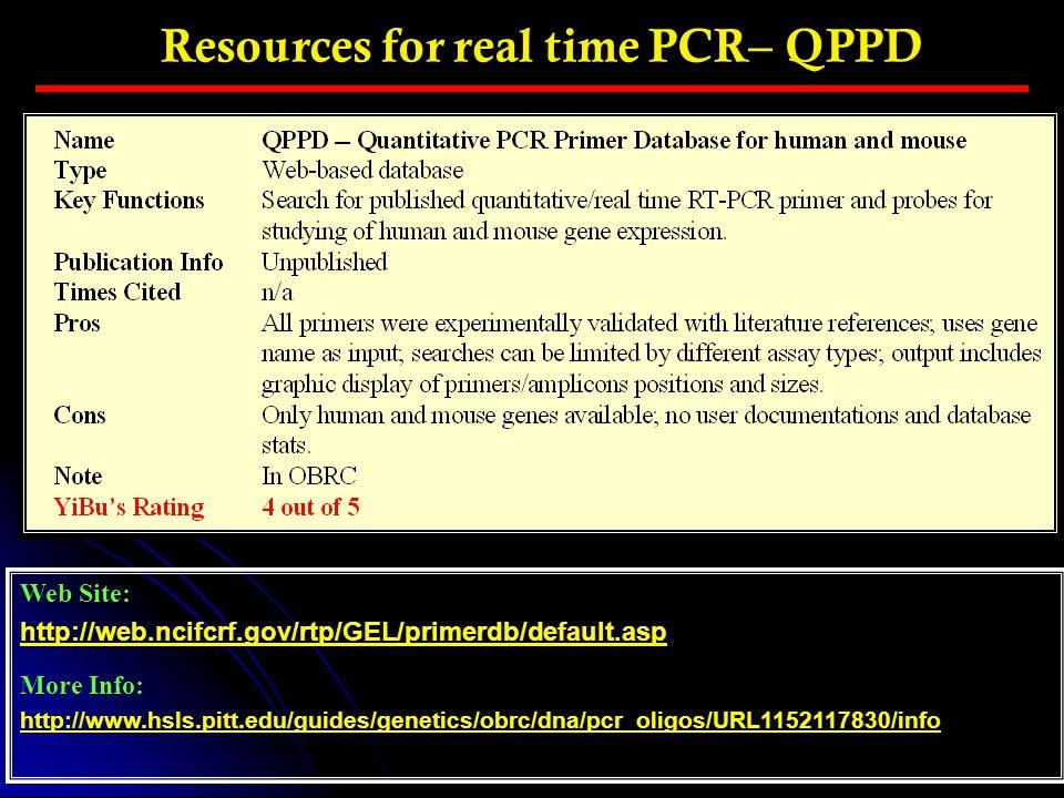 Resources for real time PCR– QPPD Web Site: http://web.ncifcrf.gov/rtp/GEL/primerdb/default.asp More Info: http://www.hsls.pitt.edu/guides/genetics/ob