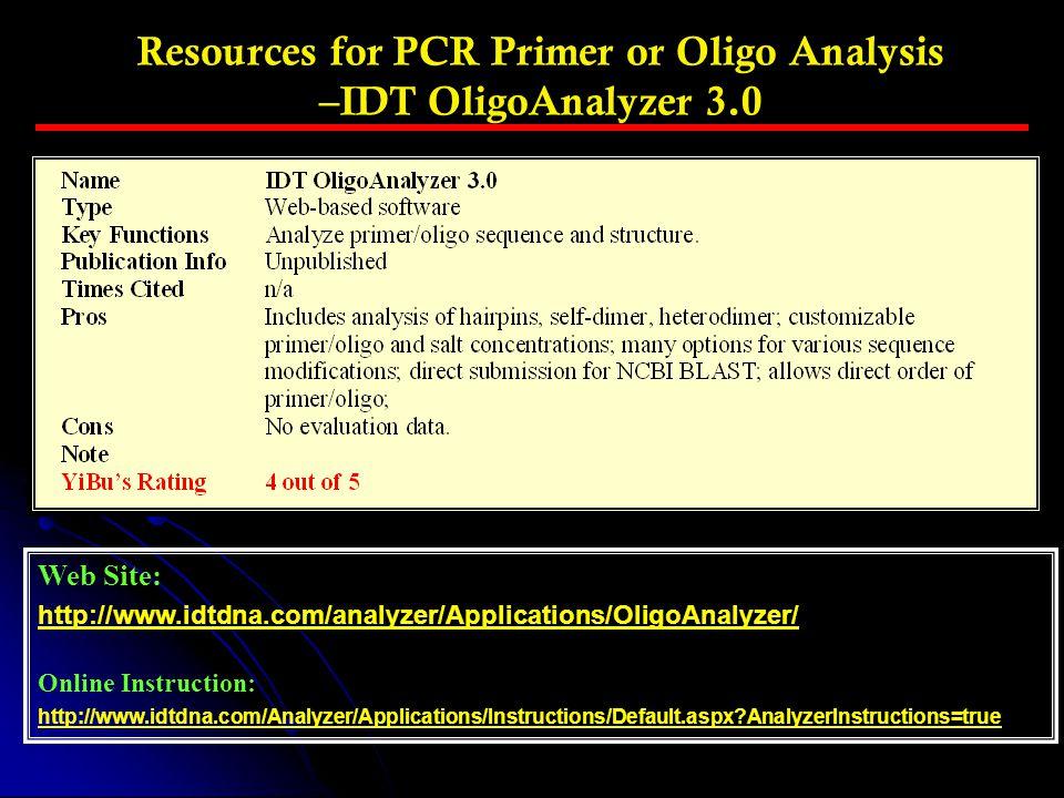 Web Site: http://www.idtdna.com/analyzer/Applications/OligoAnalyzer/ Online Instruction: http://www.idtdna.com/Analyzer/Applications/Instructions/Defa