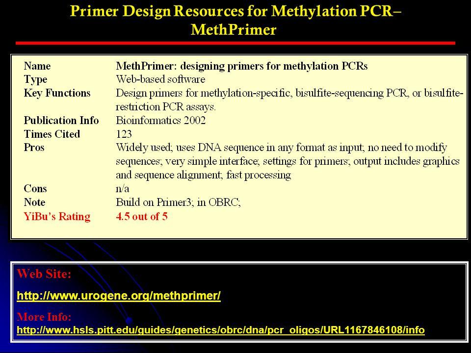 Primer Design Resources for Methylation PCR– MethPrimer Web Site: http://www.urogene.org/methprimer/ More Info: http://www.hsls.pitt.edu/guides/geneti