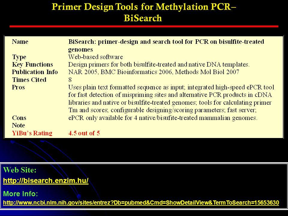 Primer Design Tools for Methylation PCR– BiSearch Web Site: http://bisearch.enzim.hu/ More Info: http://www.ncbi.nlm.nih.gov/sites/entrez?Db=pubmed&Cm