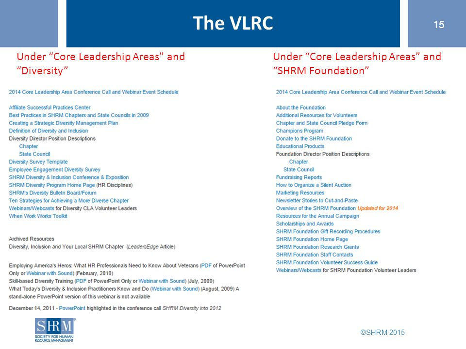 "©SHRM 2015 15 The VLRC Under ""Core Leadership Areas"" and ""Diversity"" Under ""Core Leadership Areas"" and ""SHRM Foundation"""