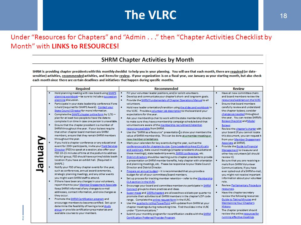 "©SHRM 2015 18 The VLRC Under ""Resources for Chapters"" and ""Admin..."" then ""Chapter Activities Checklist by Month"" with LINKS to RESOURCES!"