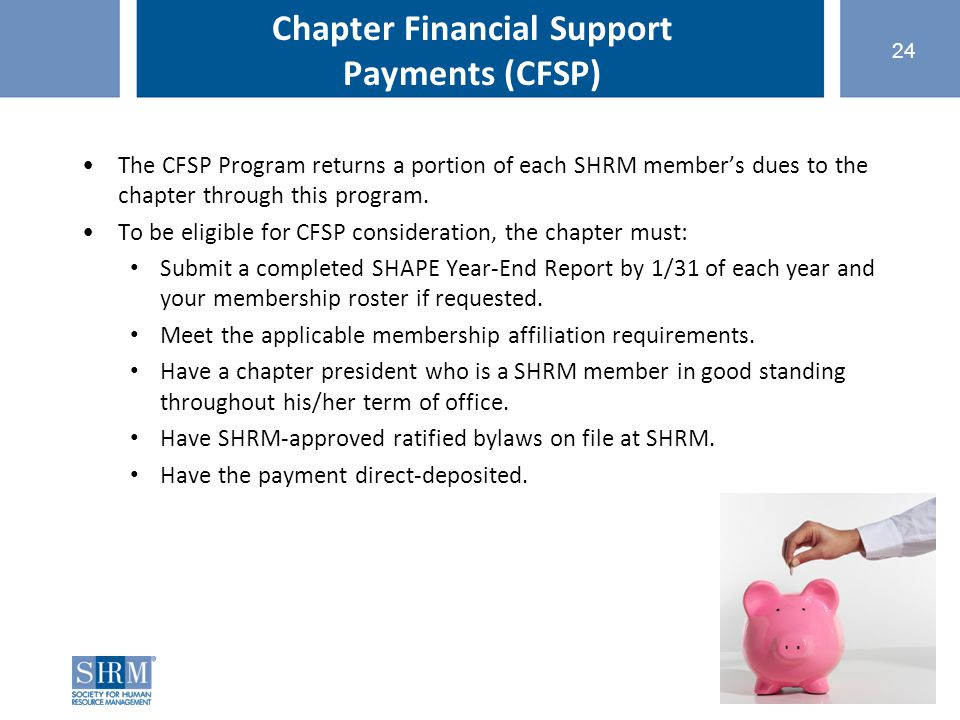©SHRM 2015 Chapter Financial Support Payments (CFSP) The CFSP Program returns a portion of each SHRM member's dues to the chapter through this program