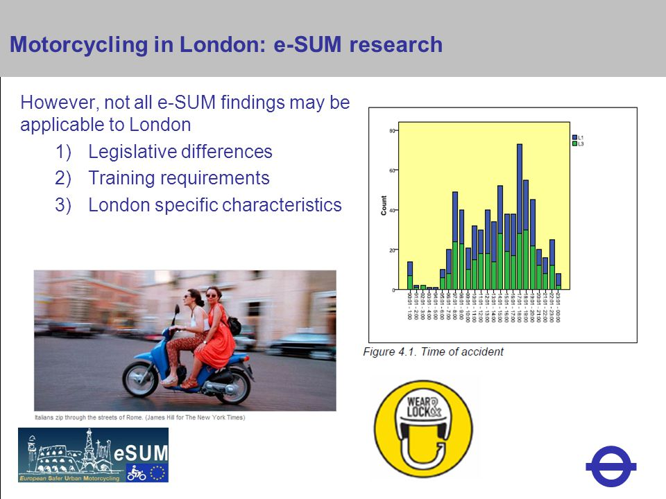 Heading Motorcycling in London: e-SUM research However, not all e-SUM findings may be applicable to London 1)Legislative differences 2)Training requirements 3)London specific characteristics