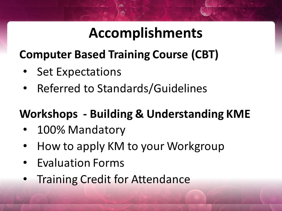 Accomplishments Computer Based Training Course (CBT) Set Expectations Referred to Standards/Guidelines Workshops - Building & Understanding KME 100% Mandatory How to apply KM to your Workgroup Evaluation Forms Training Credit for Attendance