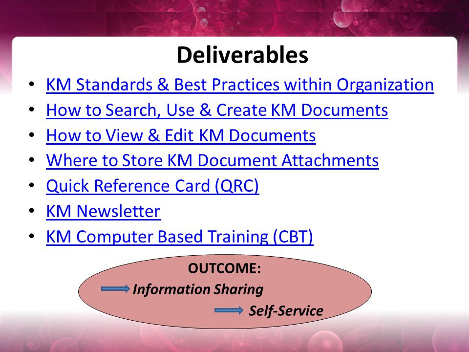 Deliverables KM Standards & Best Practices within Organization How to Search, Use & Create KM Documents How to View & Edit KM Documents Where to Store KM Document Attachments Quick Reference Card (QRC) KM Newsletter KM Computer Based Training (CBT) OUTCOME: Information Sharing Self-Service