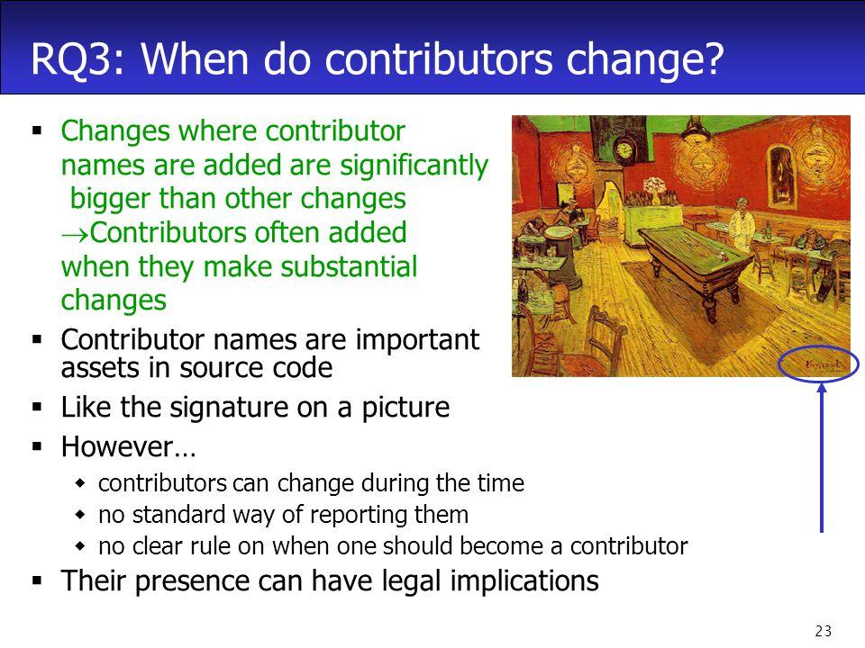 23 RQ3: When do contributors change.