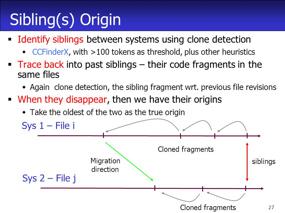 27 Sibling(s) Origin  Identify siblings between systems using clone detection  CCFinderX, with >100 tokens as threshold, plus other heuristics  Trace back into past siblings – their code fragments in the same files  Again clone detection, the sibling fragment wrt.