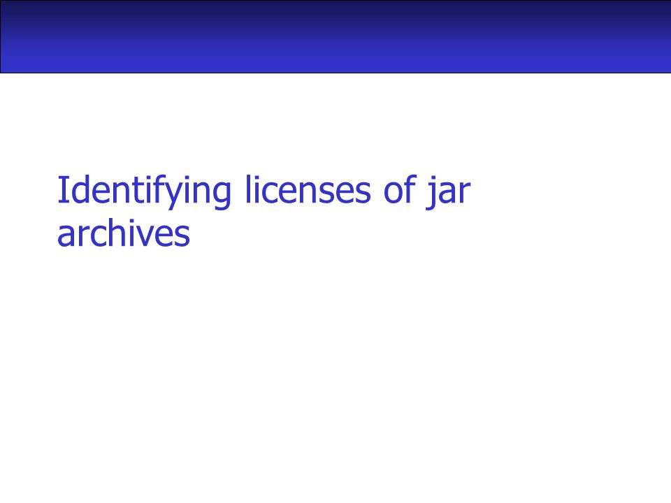 Identifying licenses of jar archives