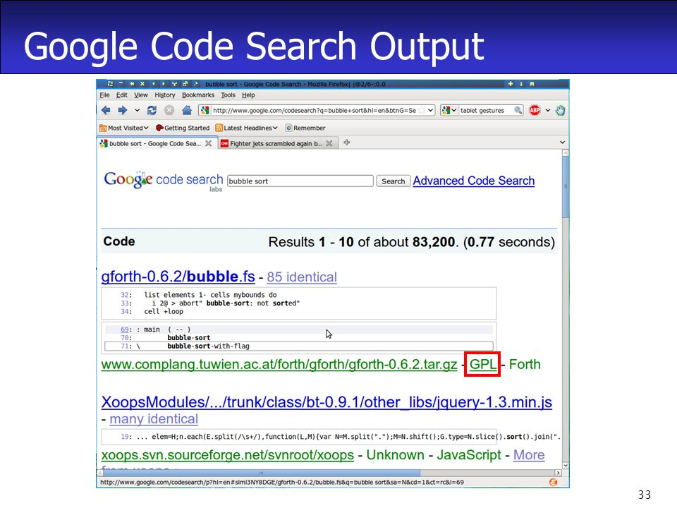 33 Google Code Search Output