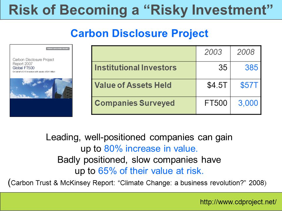 Risk of Becoming a Risky Investment Carbon Disclosure Project 20032008 Institutional Investors35385 Value of Assets Held$4.5T$57T Companies SurveyedFT5003,000 Leading, well-positioned companies can gain up to 80% increase in value.