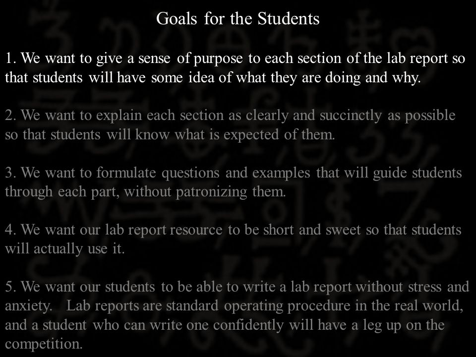 Goals for the Students 1.