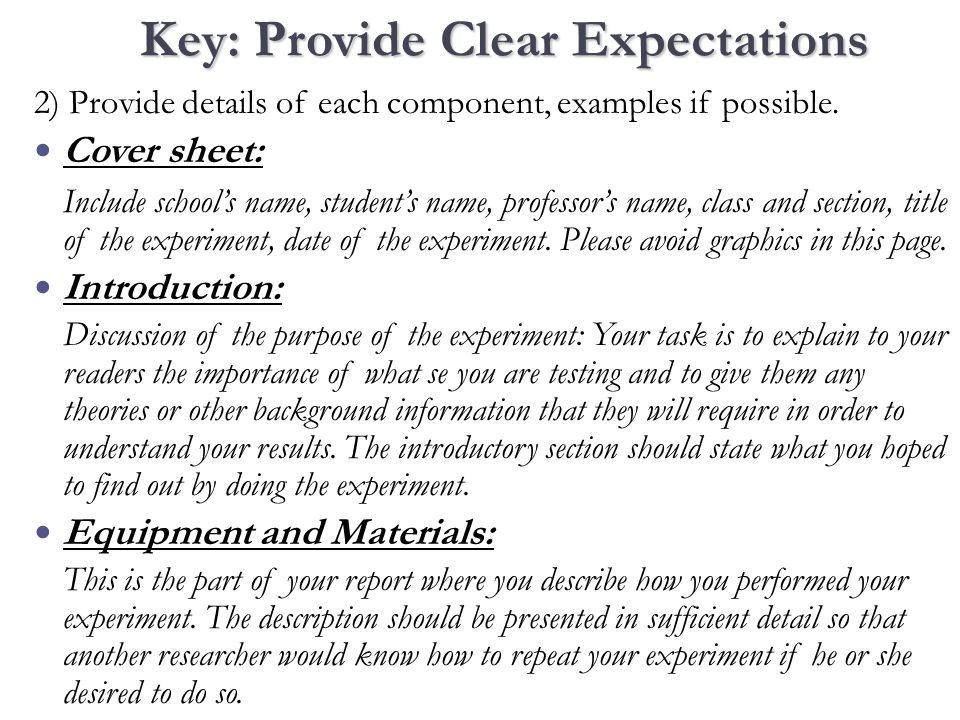 2) Provide details of each component, examples if possible.