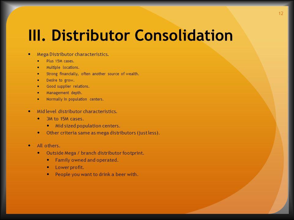 Mega Distributor characteristics. Plus 15M cases.