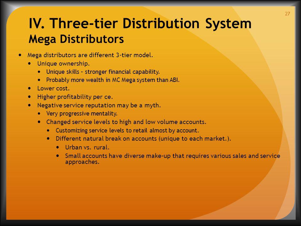 IV. Three-tier Distribution System Mega Distributors Mega distributors are different 3-tier model.
