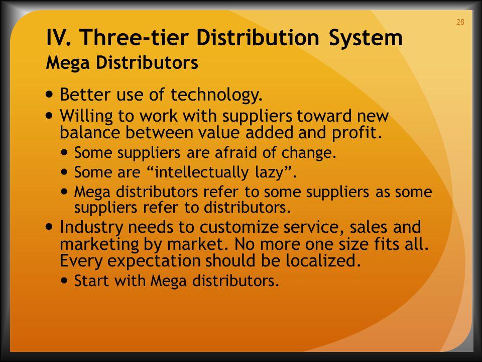 IV. Three-tier Distribution System Mega Distributors Better use of technology.