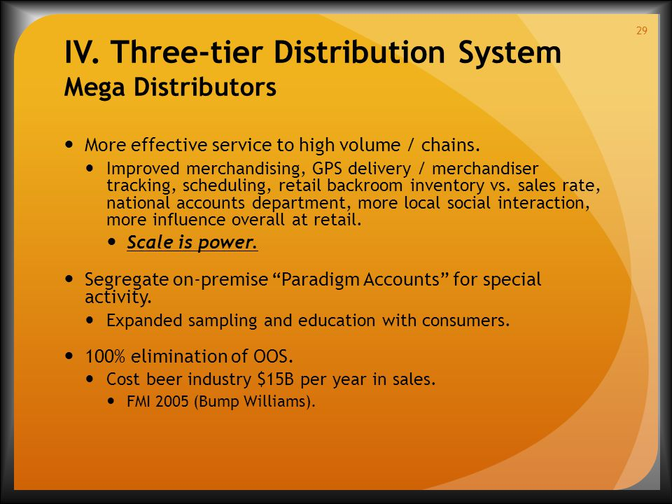 IV. Three-tier Distribution System Mega Distributors More effective service to high volume / chains. Improved merchandising, GPS delivery / merchandis