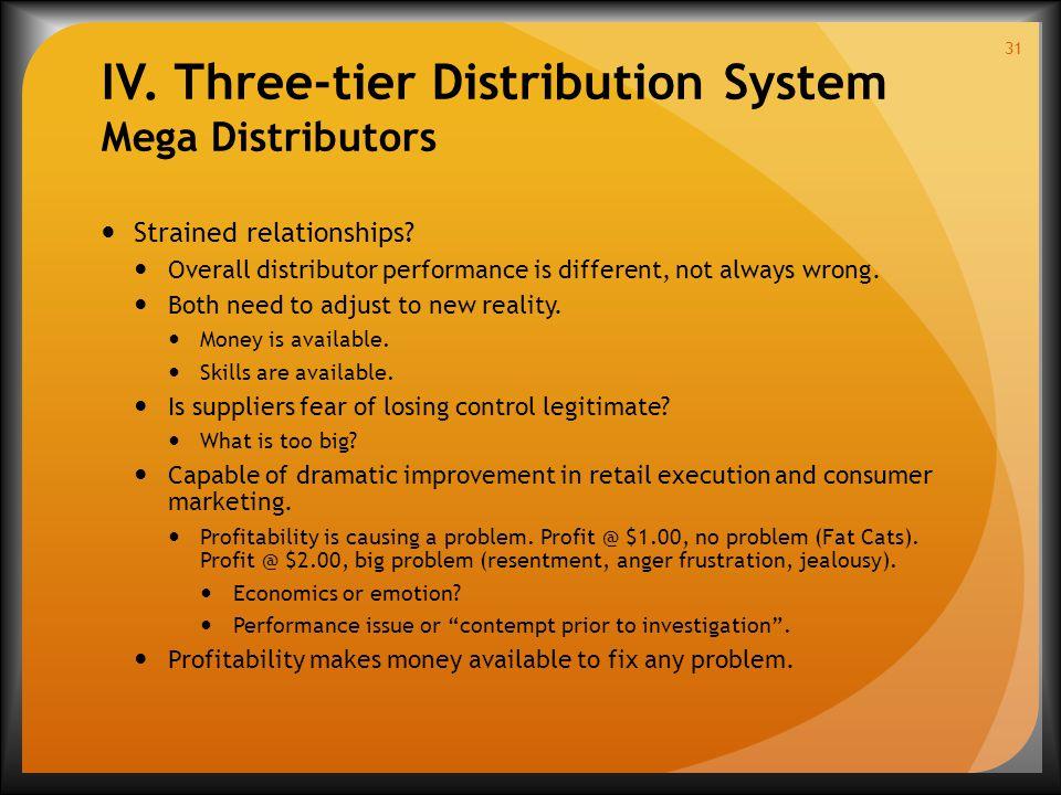 IV. Three-tier Distribution System Mega Distributors Strained relationships.