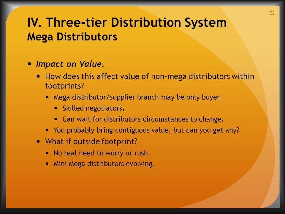 IV. Three-tier Distribution System Mega Distributors Impact on Value.