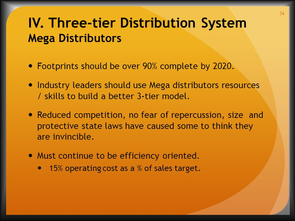 IV. Three-tier Distribution System Mega Distributors Footprints should be over 90% complete by 2020. Industry leaders should use Mega distributors res