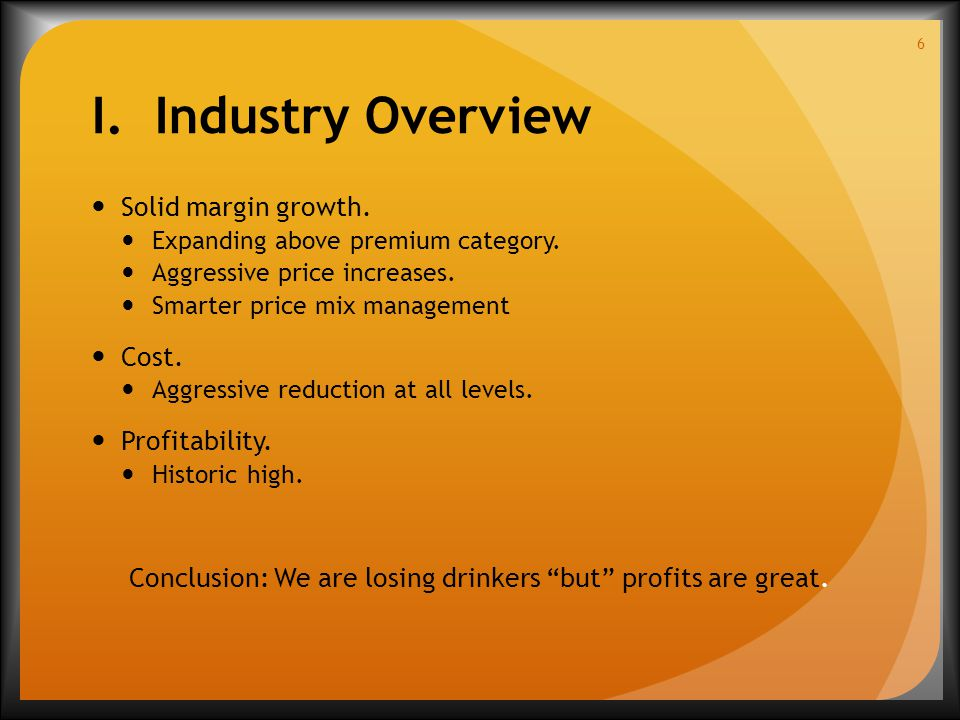 I. Industry Overview Solid margin growth. Expanding above premium category.