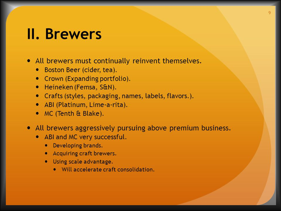 II. Brewers All brewers must continually reinvent themselves.