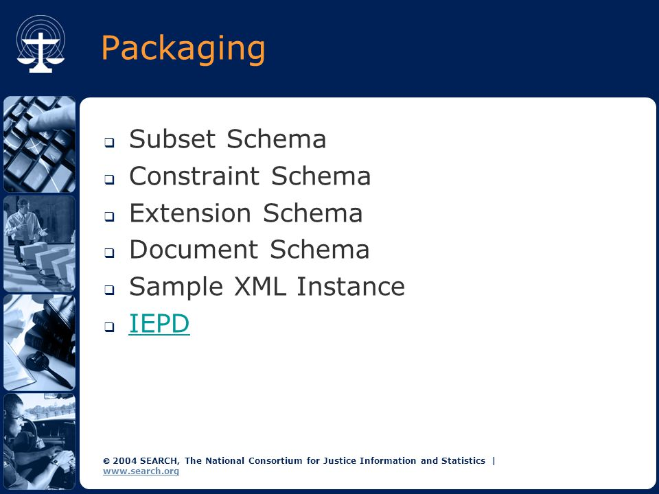  2004 SEARCH, The National Consortium for Justice Information and Statistics | www.search.org Packaging  Subset Schema  Constraint Schema  Extension Schema  Document Schema  Sample XML Instance  IEPD IEPD