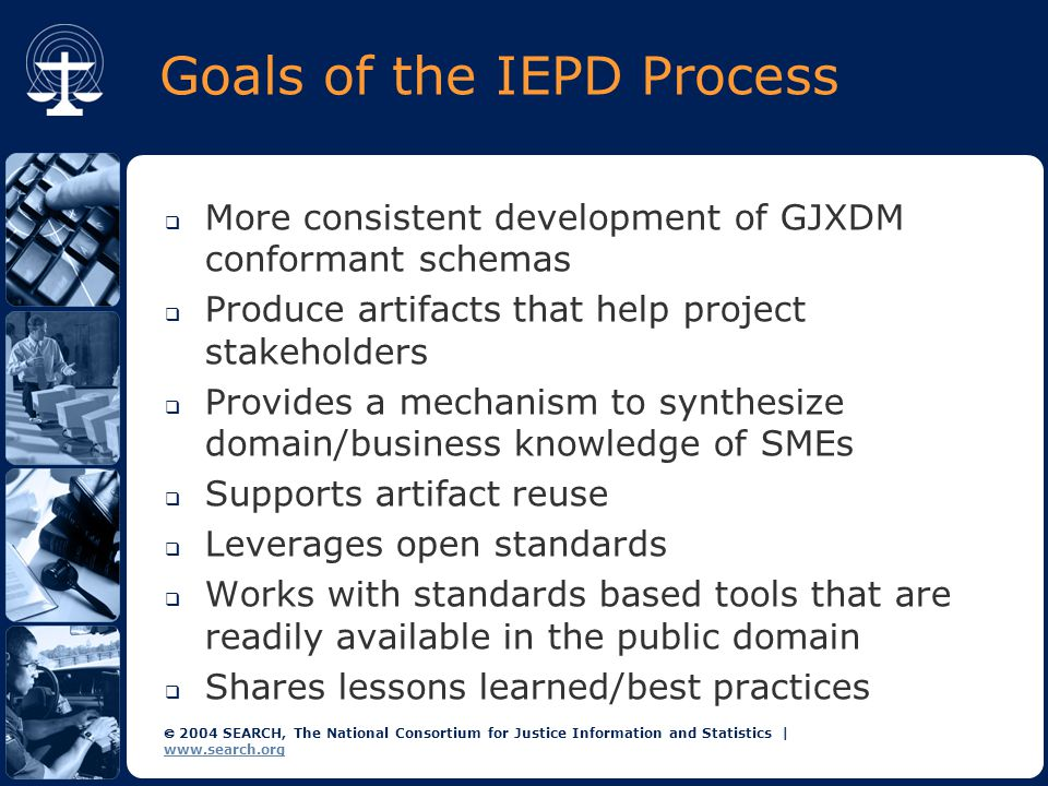  2004 SEARCH, The National Consortium for Justice Information and Statistics | www.search.org Goals of the IEPD Process  More consistent development of GJXDM conformant schemas  Produce artifacts that help project stakeholders  Provides a mechanism to synthesize domain/business knowledge of SMEs  Supports artifact reuse  Leverages open standards  Works with standards based tools that are readily available in the public domain  Shares lessons learned/best practices