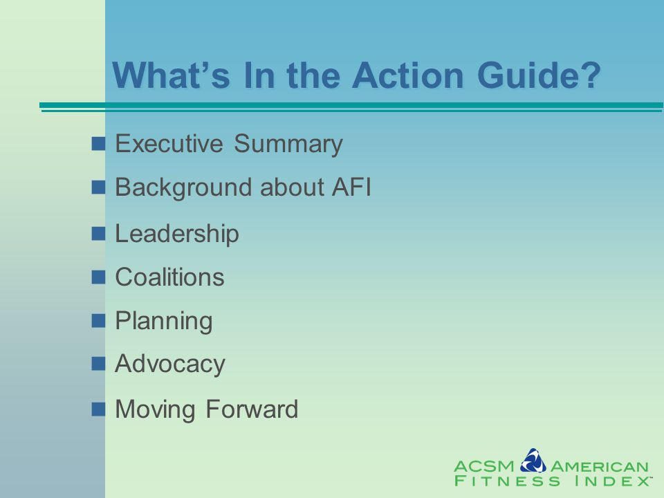 What's In the Action Guide.