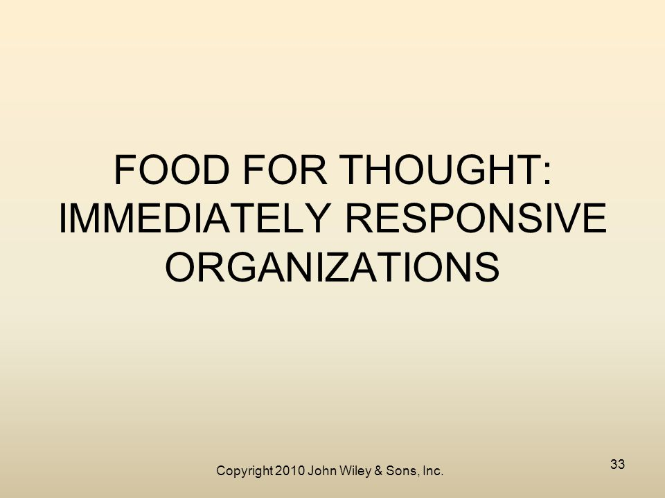 Copyright 2010 John Wiley & Sons, Inc. 33 FOOD FOR THOUGHT: IMMEDIATELY RESPONSIVE ORGANIZATIONS