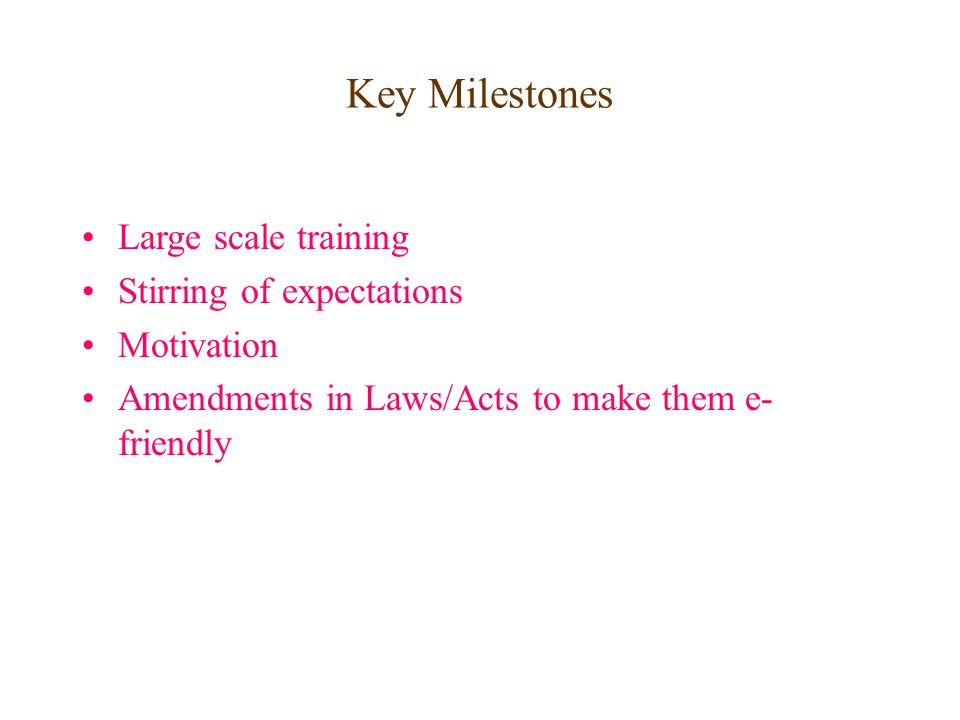 Key Milestones Large scale training Stirring of expectations Motivation Amendments in Laws/Acts to make them e- friendly