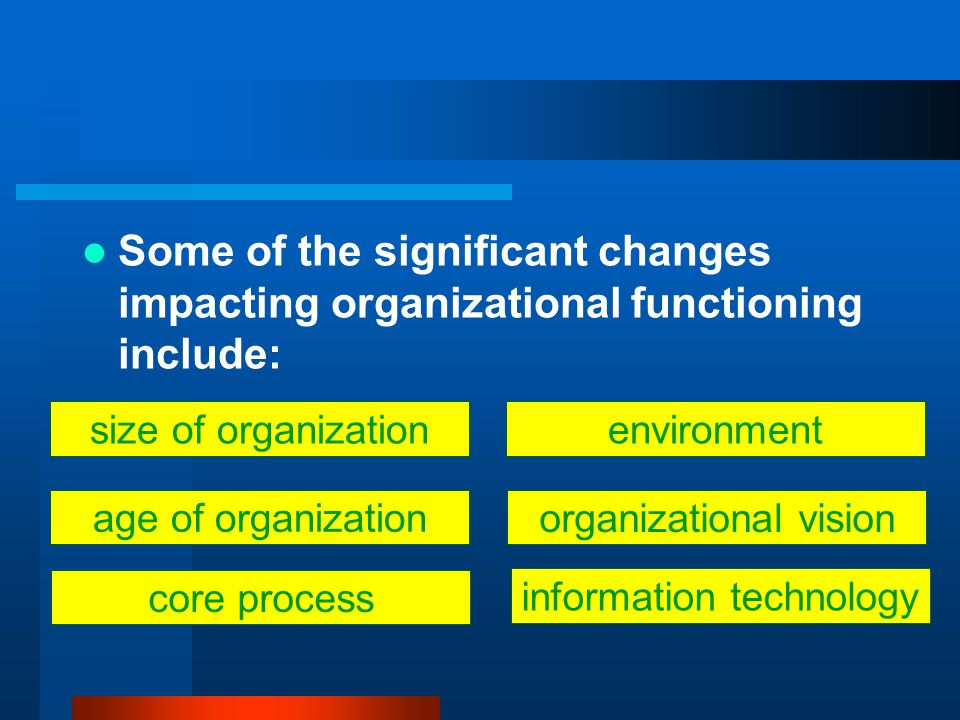 Some of the significant changes impacting organizational functioning include: information technology organizational vision environmentsize of organization age of organization core process