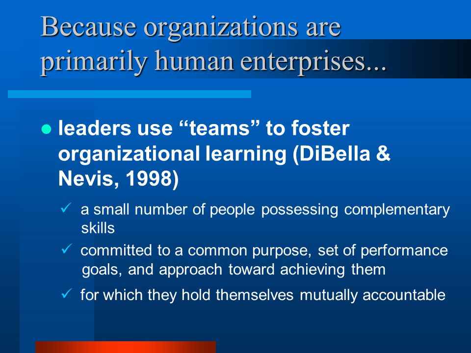 Because organizations are primarily human enterprises...