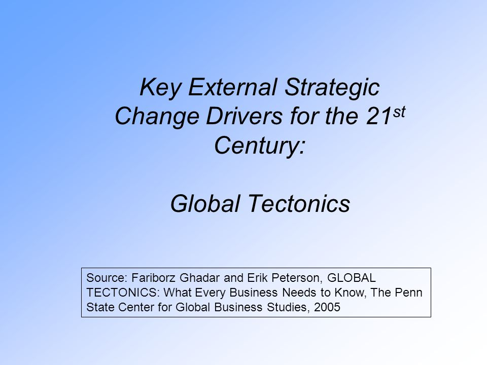 Key External Strategic Change Drivers for the 21 st Century: Global Tectonics Source: Fariborz Ghadar and Erik Peterson, GLOBAL TECTONICS: What Every Business Needs to Know, The Penn State Center for Global Business Studies, 2005