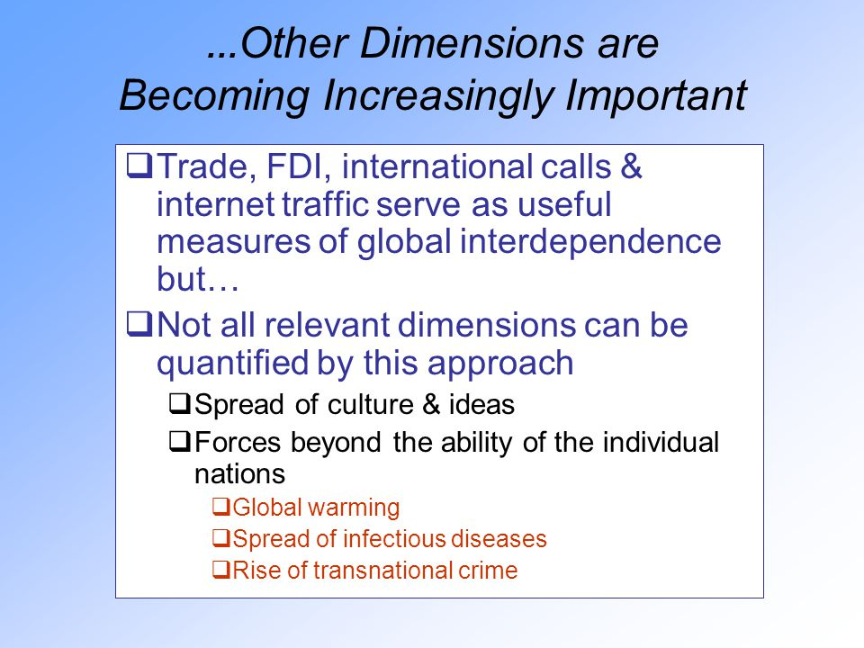 … Other Dimensions are Becoming Increasingly Important  Trade, FDI, international calls & internet traffic serve as useful measures of global interdependence but…  Not all relevant dimensions can be quantified by this approach  Spread of culture & ideas  Forces beyond the ability of the individual nations  Global warming  Spread of infectious diseases  Rise of transnational crime