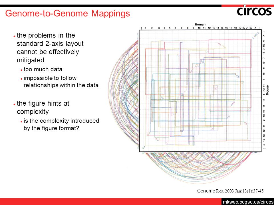 mkweb.bcgsc.ca/circos Genome-to-Genome Mappings the problems in the standard 2-axis layout cannot be effectively mitigated too much data impossible to follow relationships within the data the figure hints at complexity is the complexity introduced by the figure format.