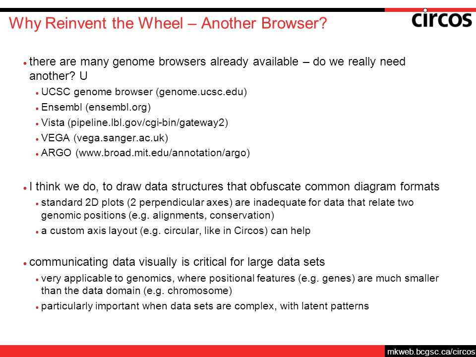mkweb.bcgsc.ca/circos Why Reinvent the Wheel – Another Browser.