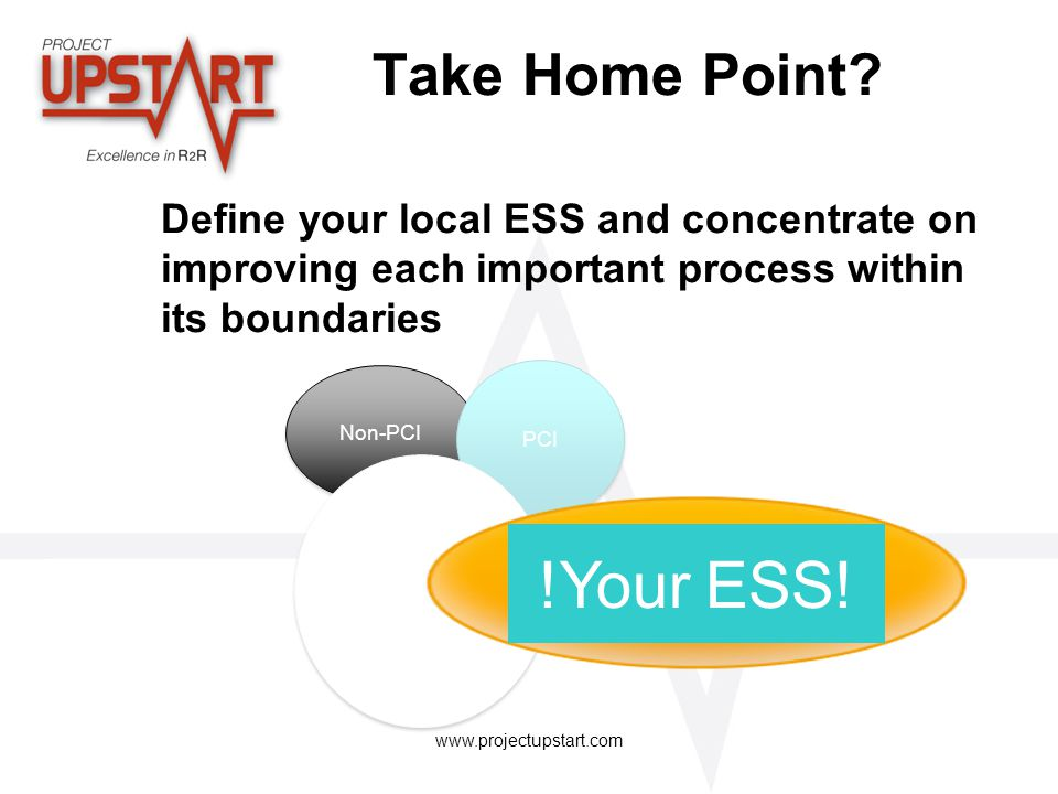 www.projectupstart.com Take Home Point? Define your local ESS and concentrate on improving each important process within its boundaries Non-PCI PCI !Y