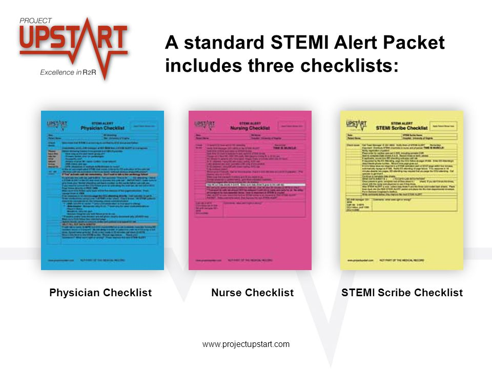 www.projectupstart.com A standard STEMI Alert Packet includes three checklists: Physician ChecklistNurse ChecklistSTEMI Scribe Checklist