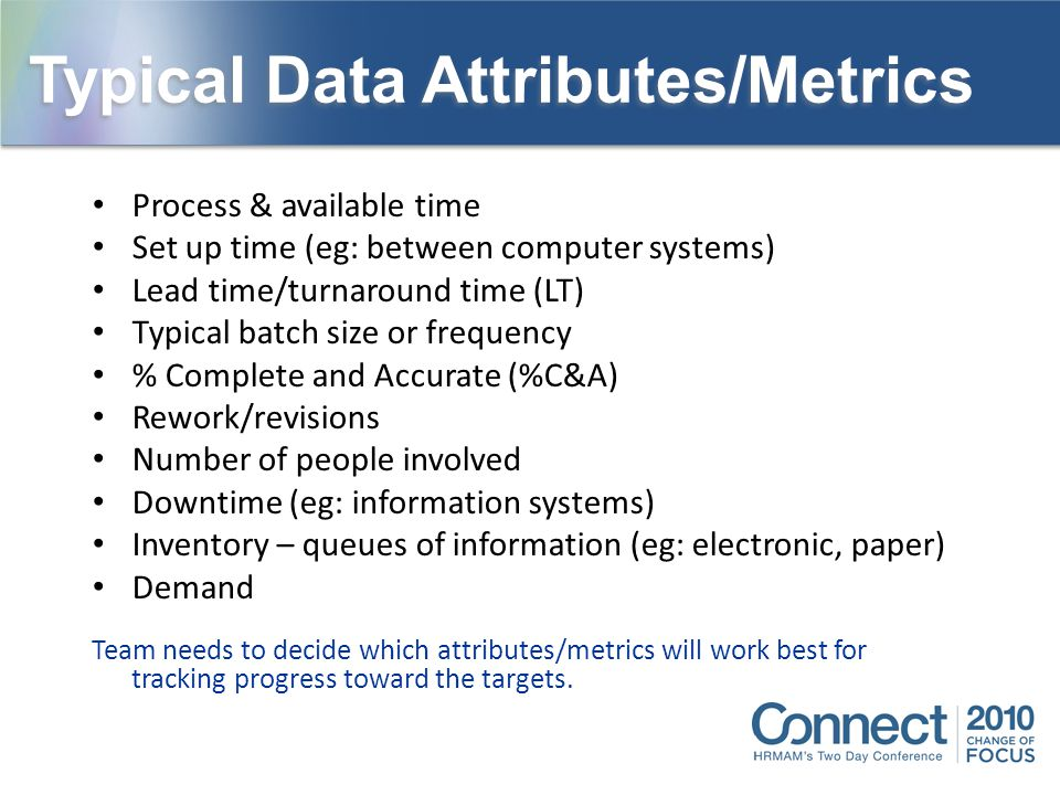 Process & available time Set up time (eg: between computer systems) Lead time/turnaround time (LT) Typical batch size or frequency % Complete and Accu