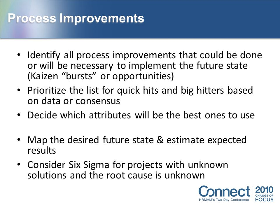 """Identify all process improvements that could be done or will be necessary to implement the future state (Kaizen """"bursts"""" or opportunities) Prioritize"""