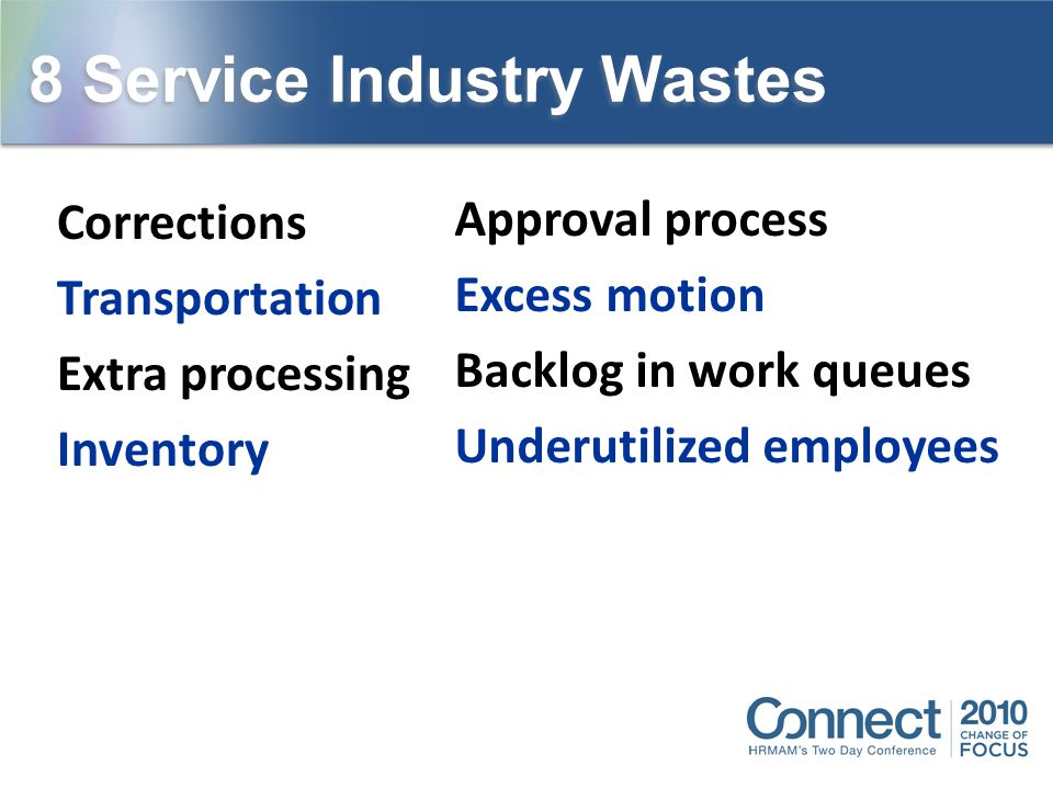 8 Service Industry Wastes Corrections Transportation Extra processing Inventory Approval process Excess motion Backlog in work queues Underutilized em