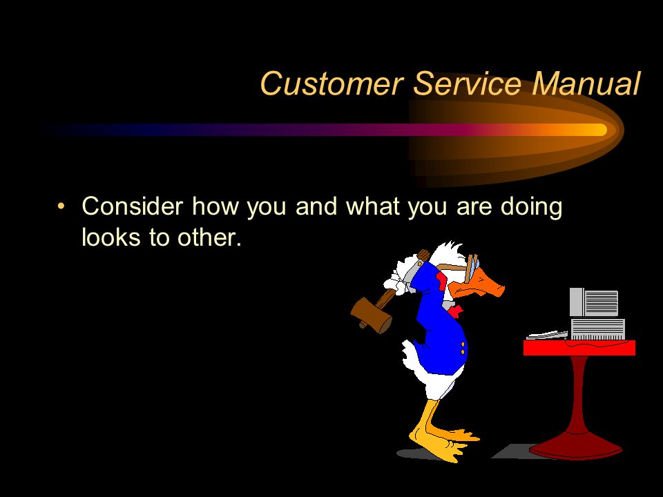 Customer Service Manual Consider how you and what you are doing looks to other.